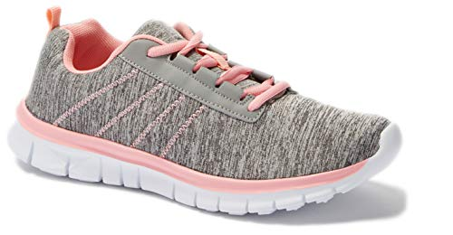 Shop Pretty Girl Womens Sneakers Athletic Knit Mesh Running Shoes Light Weight Walking Casual Comfort Running Shoe (6.5, Grey/Pink F9211)