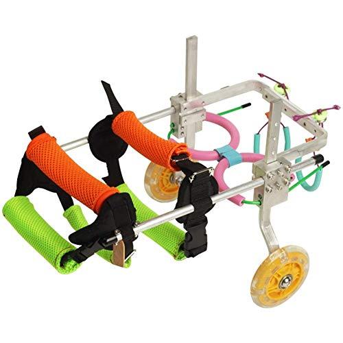 Wózek inwalidzki dla psów – dla małych psów, ze stali nierdzewnej, dla zwierząt domowych/kotów, psa, wózki inwalidzkie, rehabilitacja, weterynarzy, dopuszczony do użytku na tylnych nogach (rozmiar: XXS)