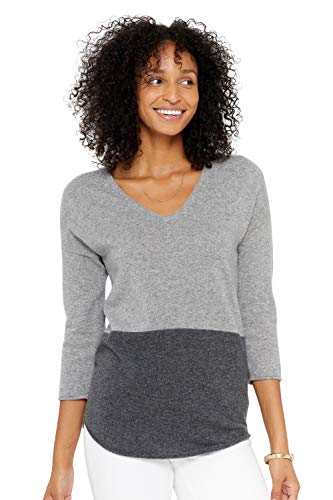 State Cashmere Women's Color Block V-Neck Tunic Sweater 100% Pure Cashmere Three Quarter Sleeve Round Hem Pullover (Medium, Heather Grey/Charcoal)