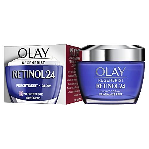 OLAY Regenerist Retinol24 Nachtcreme, 50ml, Mit Retinol Und Vitamin B3 Für Glatte Und Strahlende Haut, Parfümfreie Gesichtscreme Für Damen, Gesichtspflege