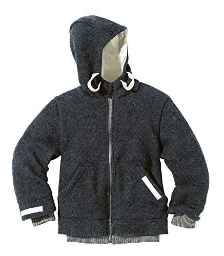 Disana Outdoor-Jacke aus 100% Bio Merino Schurwolle (kbT) in Rose Oder Anthrazit, Futter 100% Bio Baumwolle, Warme Winterjacke für Jungen und Mädchen (98/104, Anthrazit)