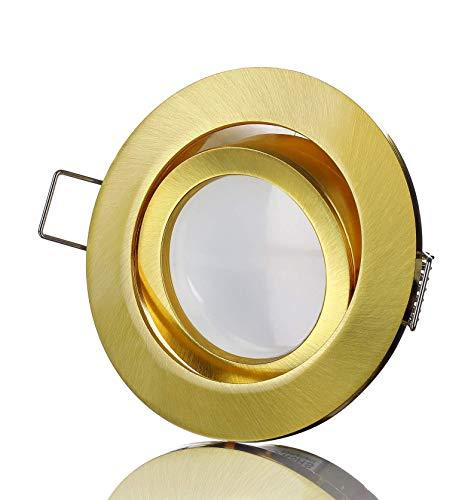 lambado® Premium LED Spots 230V Flach in Gold - Hell & Sparsam inkl. 5W Strahler warmweiß dimmbar - Moderne Beleuchtung durch zeitlose Einbaustrahler/Deckenstrahler