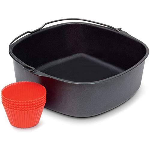 Wobekuy Bandeja de horno eléctrica para freidora de aire, bandeja de horno antiadherente, bandeja de asado, bandeja de cocina, accesorios de cocina, herramienta de horno de 9 pulgadas