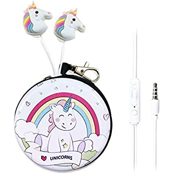 QearFun in Ear 3D Cute Cartoon Animal Unicorn Horse Headphones with Mic with Earphone Case Hands-Free for Apple,Samsung,Android Smartphones Mp3 (Rainbow Unicorn)
