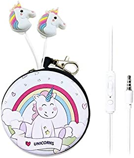 QearFun in Ear 3D Cute Cartoon Animal Unicorn Horse Headphones with Mic with Earphone Case Hands-Free for Apple,Samsung,An...