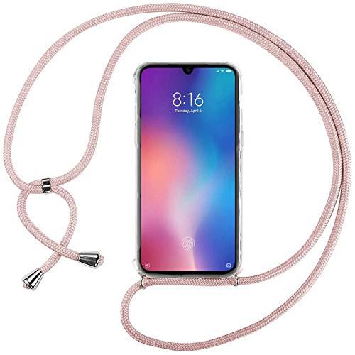 Ingen Funda con Cuerda para Xiaomi Mi 9 SE - Carcasa Transparente TPU Suave Silicona Case con Colgante - Rosa