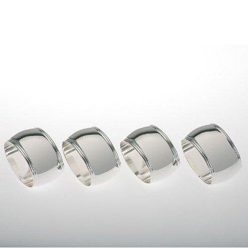 Dekolust Serviettenringe Silber oval 4er Set für Papierservietten oder Tischbänder Hochzeit Vintage Servietten-Ringe Geburtstag Taufe
