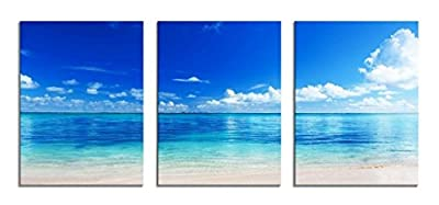 Youk-art Decor 3 Panels Blue Ocean Seaside Beach Photograph Printed on Canvas for Home Wall Decoration Paintings for Bathroom Bedroom Livingroom