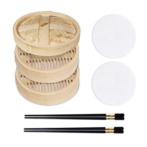 Dampfgarer aus Bambus, Kochkorb, langlebig und verstärkt, für Herd, Küchenhelfer, Gemüse, Reis, Dim Sum, Pfannkuchen, Fleisch und Fisch, handgefertigt