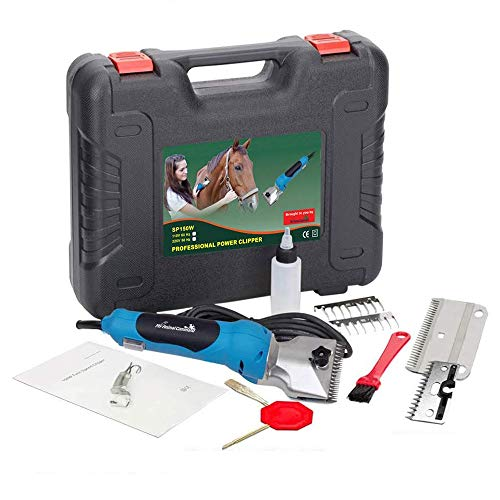 My Animal Command 110V Horse Clippers Professional Heavy Duty Kit, Professional Animal Grooming Clippers 2 Speeds Shaving Thick Coats Fur Horse Hair Ponies Equine Pigs Cattle Farm Livestock 2 Blades