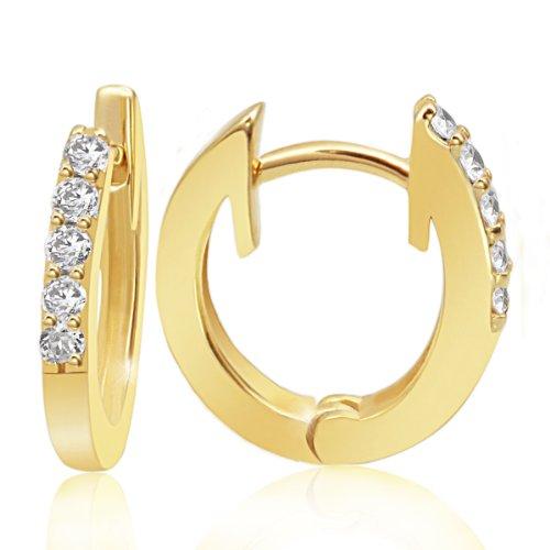 Goldmaid Damen-Creolen Memoire 585 Gelbgold 10 Diamanten 0,16 ct.