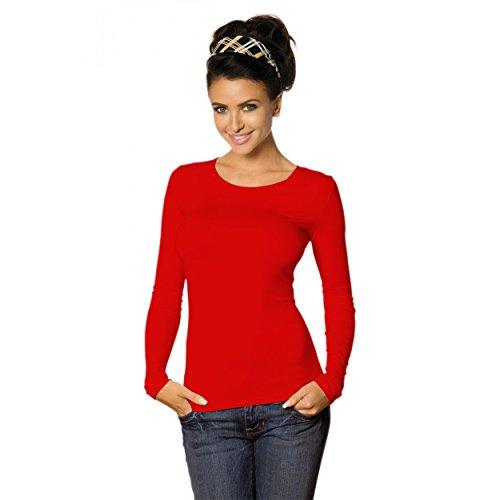 Babell Damen Longsleeve Basic Shirt Stretch-Viskose Langarmshirt Rundhals Top, 38-40(M), Rot