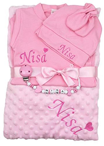 Baby Erstlingsset personalisiert Mädchen rosa