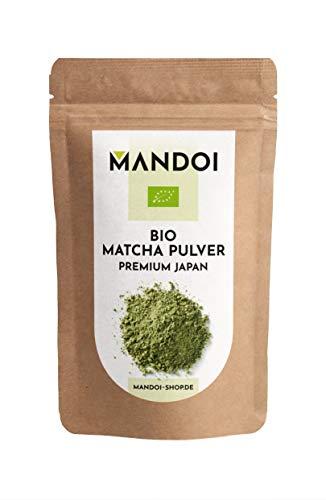 Mandoi BIO Matcha Pulver Japan, 100g. Premium Matchapulver / Grünteepulver ideal für Tee, Smoothies, Shakes oder zum backen