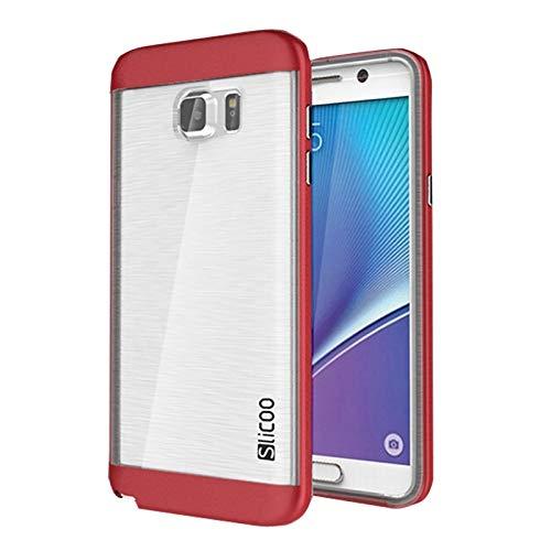 Slicoo (#52) Brushed Struttura Galvanik Elektrolyt - Cu Combinazione Custodia per Compatibile con: Galaxy Note 5/N920 (Rosso)