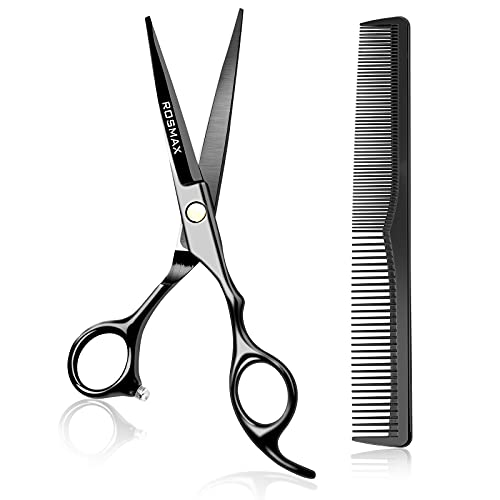 Rosmax Hair Cutting Scissors Professional Salon Barber Scissors,One Comb Included,for Man Woman Adults Kids Babies Cutting Hair Hairdressing Scissors