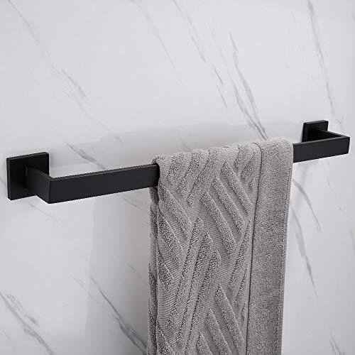 Biutimarden Schwarz Wandhalterung Einzeln Handtuchhalter 60cm Wandhalterung Bohren Montage Handtuchhalter für Bad