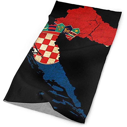 Annays Hoofddoek Kroatië Map Outline Vlag Hoofd Wrap Running Hoofddeksels Outdoor Hoofdband Wandelen Magic Sjaal Fietsen Sport Vissen Sweatband Multifunctionele 25X50cm