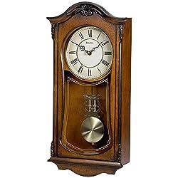 Bulova Clocks Cranbrook Wall Mount Analog Wooden Chiming Clock, Brown
