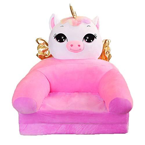 YUEHAPPY Niños Sofá De Felpa Cubierta De Asiento Encantadora Forma Animal Sillón Cubierta Silla De Bolsa De Frijoles para Niños Pequeños,Unicorn