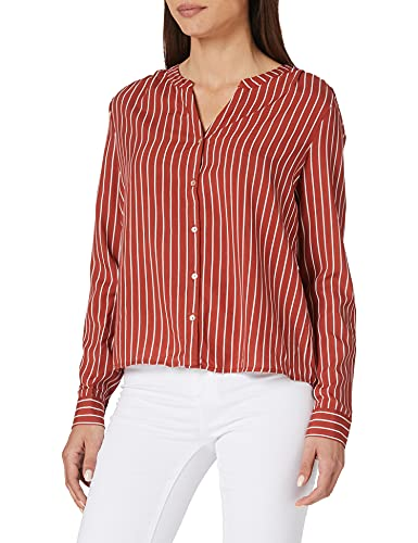 ONLY Damen ONLSUGAR Fallow L/S Shirt NOOS WVN Bluse, Burnt Henna/Stripes:Cloud Dancer, 38
