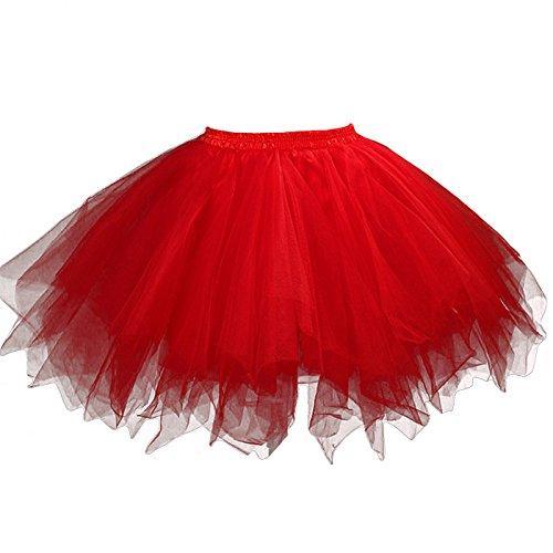 FEOYA - Jupe Tutu Adulte Femme Ballet Jupe en Tulle Courte Multi Couches Léger pour Fête Danse Spectacle Taille Élastique - Rouge