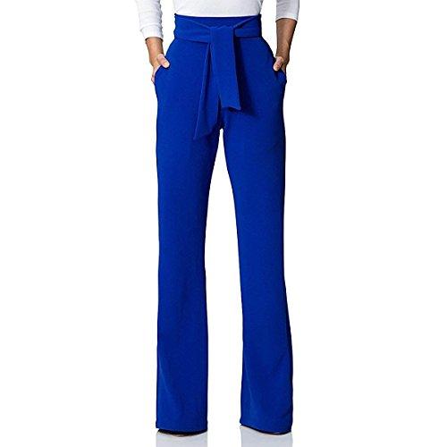 Pantalones Mujer Elegante Fiesta Moda Pantalones Anchos Largos Unicolor Anchos Fashion Pantalones De Tiempo Libre Pantalones De Traje Bastante con Cordón (Color : Blau, Size : L)
