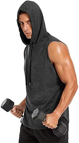 Amussiar Men's Workout Hooded Tank Tops Bodybuilding Muscle T-Shirt Sleeveless Gym Hoodies