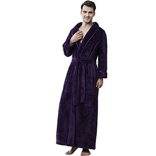 MLYWD Peignoir de Ceinture pour Femmes, Col ChâLe, Pyjama en Flanelle en V Poche Poche à Douille Unisexe Douce, Longue Chemise de Nuit Absorbante Et Confortable pour Dames, Pyjama