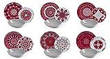 Excelsa Mandala Red Servicio de platos 18 piezas, porcelana y cerámica, multicolor
