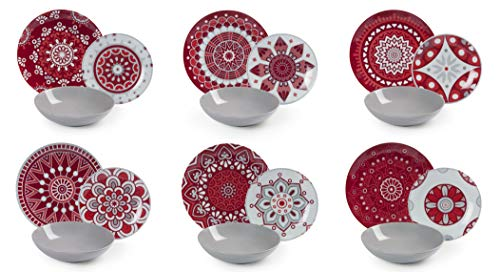 Excelsa Mandala Red Servizio Piatti 18 Pezzi, Porcellana e Ceramica, Multicolore
