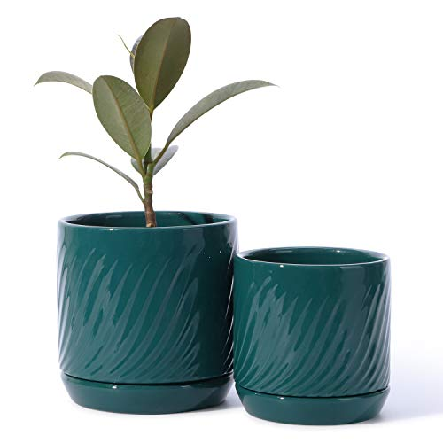 POTEY 053305 Ceramic Planter Pots - Glazed Modern Flower Planters Pot Indoor Bonsai Container with Drainage Holes & Saucer for Plants Aloe(Set of 2-5.1 + 4.2 Inch, Shiny Green, Plants Not Included)