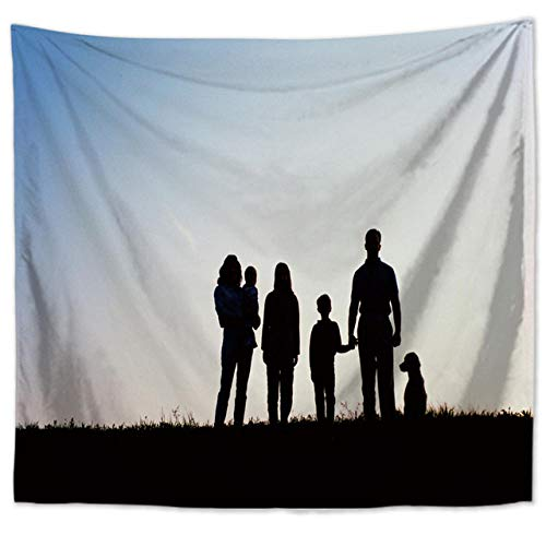 DMTWSM-Happy Family Tapestry Wall Hanging Printed Polyester Camping Tent Travel Mattress Decor Wall Tapestry-Size:130 * 150cm(51 * 59in)