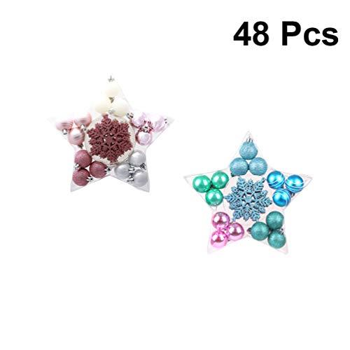 SUPVOX 48 pezzi infrangibili ornamenti per palline di natale pendenti decorativi per bagattelle con fiocchi di neve pendenti per albero di natale