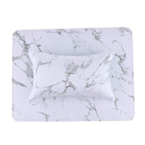 Maniküre-Tischunterlage, Arm-/Handgelenk-/Handauflage für Nägel, weiches Leder, Schreibtischunterlage, Nagelkunst-Design, Kissenhalter, Champagner, wie beschrieben L weiß