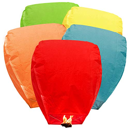 BATTIFE 5Pack Flying Lanterns Chinese Paper Lantern Biodegradable Eco Friendly Full Assembled Mixed Colors for Party Holiday Memorial Day