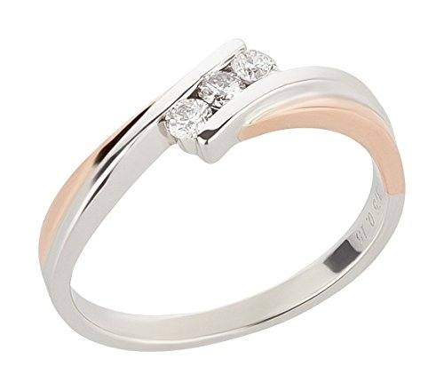 Ardeo Aurum Damenring aus 375 Gold bicolor Weißgold Rosegold mit 0,15 ct Diamant Brillant Spannfasssung Verlobungsring Solitär