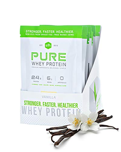 Pure Whey Protein Powder (Vanilla) by SFH | Best Tasting 100% Grass Fed Whey | All Natural | 100% Non-GMO, No Artificials, Soy Free, Gluten Free (10 Single Serve Pouches)