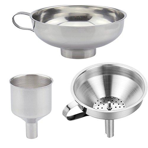 Embudos de cocina de acero inoxidable duradero con colador, ideal para la transferencia de especias, polvo líquido, mermeladas, conservas y embudos aptos para lavavajillas