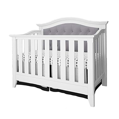 Buy Belle Isle Furniture Magnolia Upholstered 4-in-1 Convertible Crib White/Gray Linen