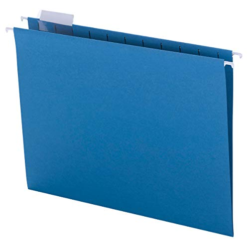 Smead Colored Hanging File Folder with Tab, 1/5-Cut Adjustable Tab, Letter Size, Sky Blue, 25 per Box (64068)