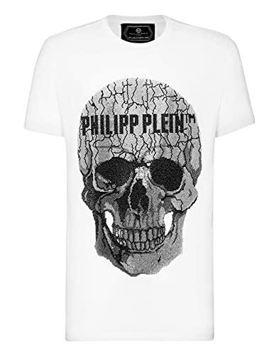 Philipp Plein Masculino T-Shirt Round Neck SS Skull Strass Medium