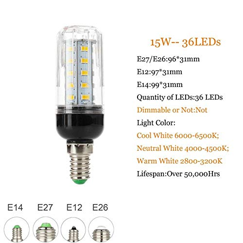 Smd Led-lamp E27 Led-lamp E14 E12 lamp 5730 Smd Maislamp 7W 9W 12W 15W 18W 20W 25W 28W kroonluchter kaarsen Led-licht voor wooncultuur Ampulle-36Leds_15W_E12_110V_Cold_White