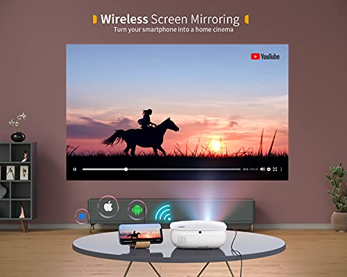 VIVIMAGE Explore 6 Mini Projector WiFi, 1080P Support Portable Projector for Outdoor Movies with Synchronize Smartphone Screen, Compatible with TV Stick, HDMI, PS5, Include Projector Screen