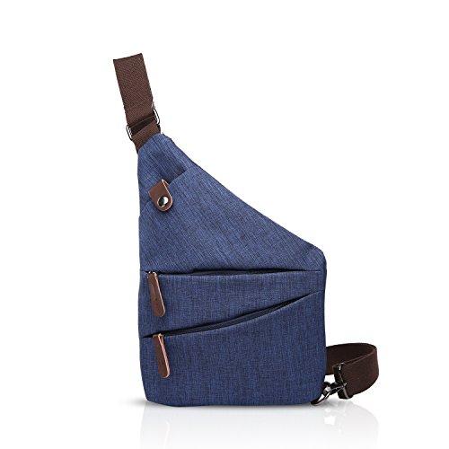 FANDARE New Sling Bag Shoulder Crossbody Bag Studenten Party Outdoor Umhängetasche Anti-Theft Herren Breathable Wasserdicht Polyester Blau
