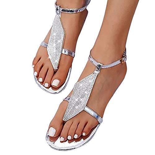 ZRSH Women Sandals Rhinestone Summer Flat T Strap Back strap Sandals Bohemian Thong Casual Hasp Beach Shoes,002,35EU