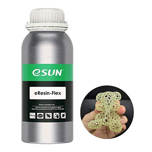 eSUN TPU-Like 3D Resina Rápida Curado UV 405nm Resina Flexible para LCD Impresora 3D Fotopolímero Resina Líquida de Impresión 3D, 500g Amarillo Transparente