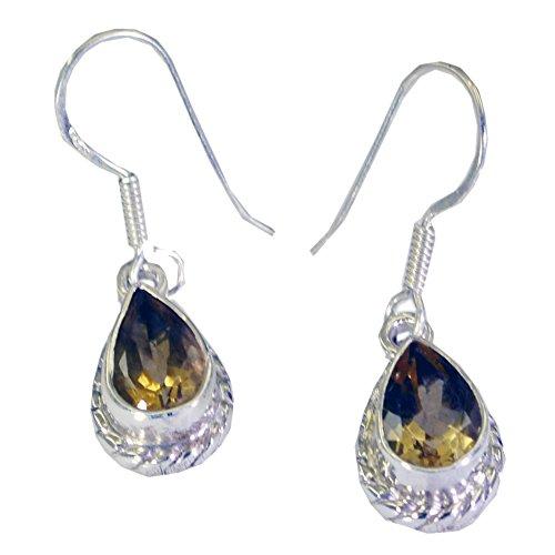 Gemsonclick Pendientes de citrino natural para mujer de plata 925 hechos a mano moda gancho de pescado un par de joyas