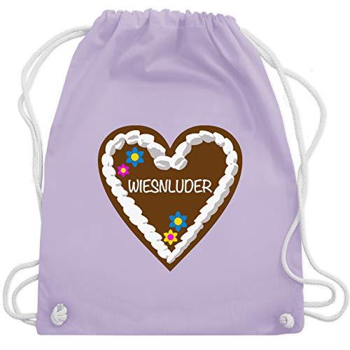 Shirtracer Oktoberfest & Wiesn Taschen - Lebkuchenherz Wiesnluder - Unisize - Pastell Lila - Oktoberfest - WM110 - Turnbeutel und Stoffbeutel aus Baumwolle