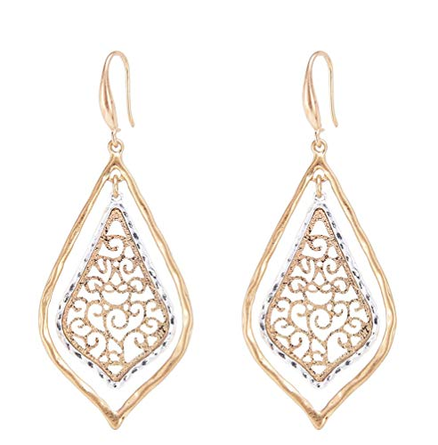 Allison Rose Atelier - Bohemian Gold and Silver Plated Filigree Pattern Inlay Design -...